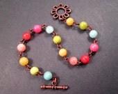 RESERVED for Ellen ONLY - Flower Bracelet, Jade Gemstone Rainbow Bracelet, Copper Beaded Bracelet, FREE Shipping U.S.