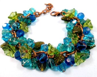 SALE - Flower Charm Bracelet, Blue Green Bouquet, Brass Beaded Bracelet, FREE Shipping U.S.