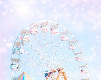 Carnival Ferris Wheel Dreamy Magical Bokeh Photography Print Nursery Home Decor Wall Art Photography Print