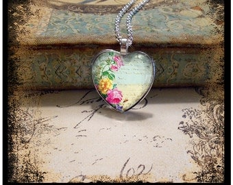 Among The Flowers, heart pendants, vintage inspired pendants, gift boxed and ready to ship, heart pendants, valentine gifts, hearts, flowers