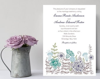 Affordable Wedding Invitation -  Navy Floral Wedding Invitation - Invitation - Wedding Invitations - Wedding Invitation - Wedding Invites
