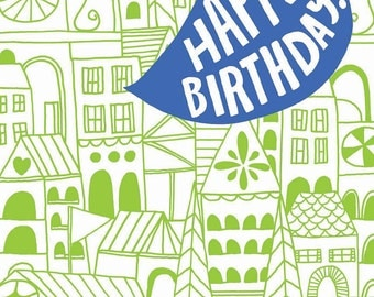 Birthday Town Greeting Card