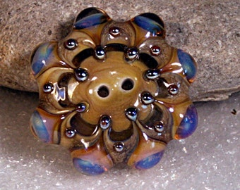 Lampwork  Art Button by Jeanniesbeads 752