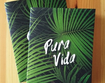 Pura Vida Lush Jungle stapled travel notebook, Costa Rica, Lush, Tropical, travel journal, travel sketchbook, eco-friendly journal, bullet