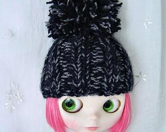 Hat for Blythe Doll, Black, Grey