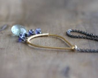 Gemstone necklace - moss aquamarine & iolite chandelier necklace in gold and oxidized silver -  delicate wire wrapped jewelry