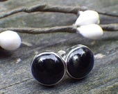 20% OFF Mothers Day Sale Large black onyx sterling silver stud earrings