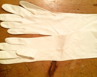 Opera Length White Kid Leather Vintage Gloves SMALL
