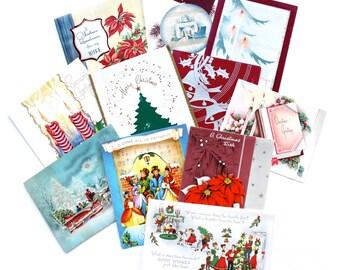 Vintage 11 Mid Century Christmas Cards