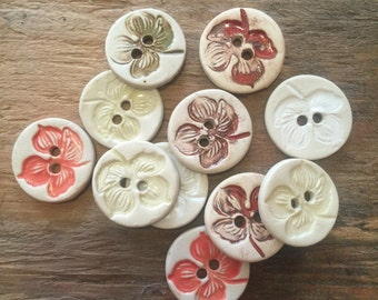 FREE SHIPPING Set of 11 Handmade Ceramic Buttons - 4 Petal Flowers