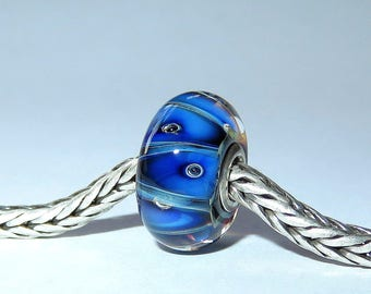 Luccicare Lampwork Bead - Triangles -  Lined with Sterling Silver