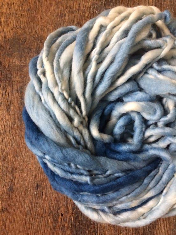 Indigo dyed, variegated blue handspun luxury yarn, 24 yards, chunky weight handspun, plant dyed, indigo blue yarn, botanical dyes,