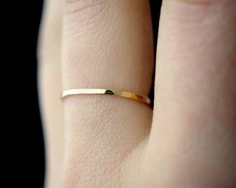 SOLID 14K Gold Stacking Ring, Solid Gold Stack rings, 14K Gold Stack ring, Hammered Stack ring, ONE Single ring, medium thickness