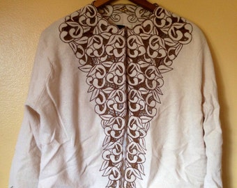 Vtg Cut Out Lace lightweight, lined wool Cardigan