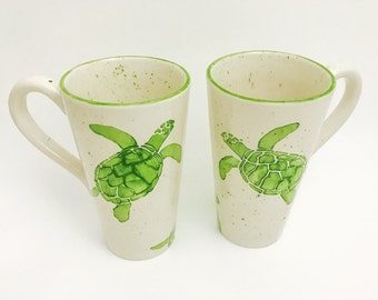 Mug. Sea Turtle Mug. Green. Sea. Turtle. Handmade by Sara Hunter Designs