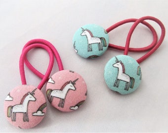 Unicorns Ponytail holders - Coral Pink or Teal/Aqua - fabric covered button hair ties