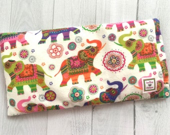 Flannel Microwavable Heating Pad, Aromatherapy, Hot Cold pack, Heat Therapy, Removable Cover, soothing, Doula, Colorful Elephants