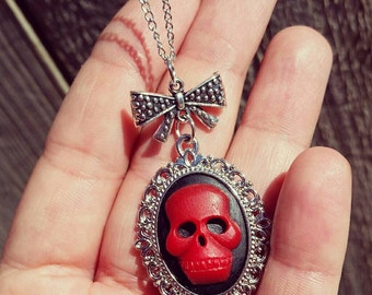 Red Skull Cameo Gothic Lolita Necklace Jewelry