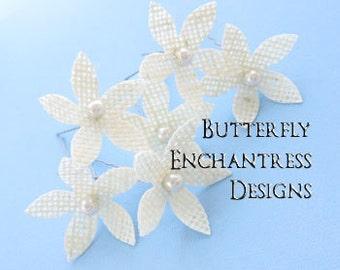 Ivory Hair Flowers, Bridal Hair Accessories, Beach Wedding, Bridesmaid Gift - 6 Ivory Burlap Stephanotis Hair Pins - Pearl Centers