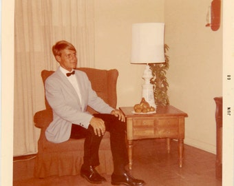 Vintage photo 1968 Handsome Young Man Teenage Boy Ready for the Prom color Snapshot