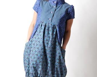 Blue floral dress, Short-sleeved blue cotton bubble dress, Vintage cotton womens dresses, Womens clothing, MALAM, size FR 38-40/ UK 10-12