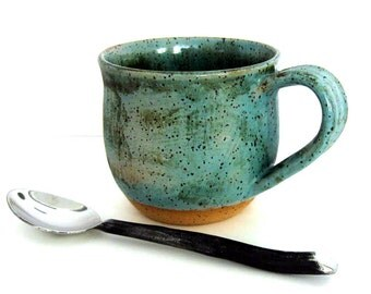 Ceramic Mug - Coffee Mug - Stoneware Mug - Bare Bottom - 11 oz - Ready to Ship - Wheel Thrown Stoneware Pottery