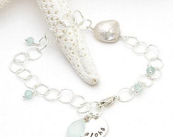 aloha bracelet - aqua chalcedony apatite sterling silver blue kyanite freshwater pearl hand stamped hammered chain bracelet, hawaii jewelry