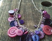 Purple, Purple Button Necklace