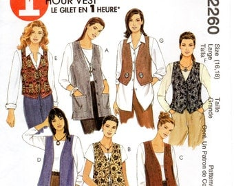 McCall's 2260 Misses Unlined Vests In Two Lengths Size 16,18 Uncut Pattern