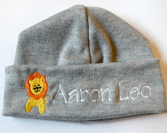 Personalized Embroidered Monogrammed Baby Hat Beanie with Lion