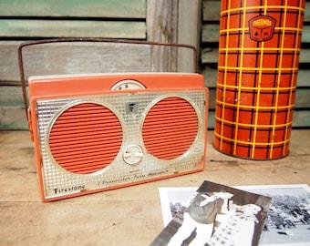 Firestone Transistor Radio Untested Most likely does not work Orange Salmon