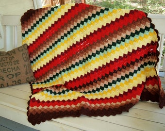 Small Crochet Afghan Throw in fun Bright Colors 46x50 inches Red Green Yellow Mint Turquoise