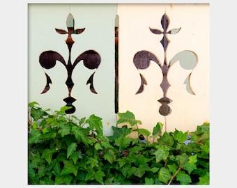 Fleur De Lis Print, Architecture Detail, Green Blue White Art, Wood Cutout Art, Martha's Vineyard, Cape Cod Charm, Ivy Photo, Square Print