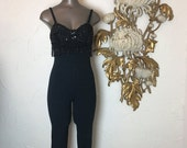 RESERVED Fall sale 1980s jumpsuit black catsuit beaded jumpsuit size small Vintage jumpsuit 1980s catsuit vintage catsuit Zum Zum jumpsuit