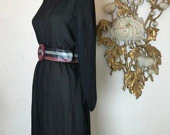 1970s dress secretary dress vintage dress size small sheer dress black dress striped dress ascot dress