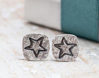 Square Star Earrings, Silver star earrings, star earrings, silver star stud earrings, gift for her, star studs, graduation gift
