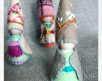 Spring Sprig Tree Gnome Waldorf Inspired  Painting Pixie Storytelling Elf Faerie Dollhouse Doll