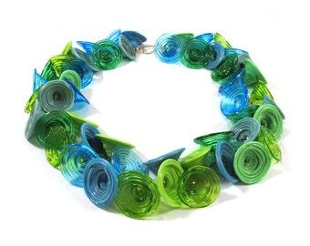 SariGlassman - Lampwork necklace - Handmade Glass necklace - Bells necklace - OOAK - 14k Gold-Filled SRA