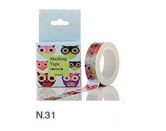Owl Washi Tape, Owl Tape, Animal Washi Tape, Kawaii Tape Kawaii Owl Tape for Scrapbooking and Crafts, Blue Owl Washi Tape