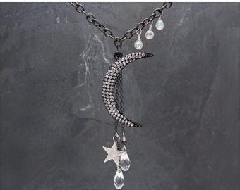 pave necklace, silver moon necklace, long crystal necklace, pave moon necklace, moon and star necklace, celestial jewelry, sterling silver