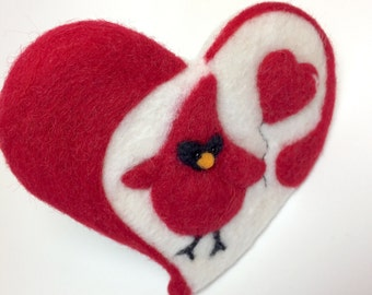 Needle Felted Cardinal Valentine's Gift, Valentines Gift, Heart Magnet