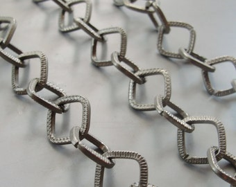 Rhodium plated Textured romboid  chain  3.3 ft / 1 meter Large Chain