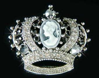 Swarovski Crystal Black Victorian Style CAMEO Crown Princess Queen Gothic Pin Brooch Jewelry Mother's Day Bridal Wedding BFF Christmas Gift