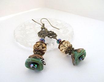 Neo Victorian Earrings, Flower Earrings, Antiqued Brass Filigree Earrings, Turquoise and Gold, FTD Awareness
