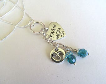 Personalized Necklace, Handstamped Necklace, Twin Mom, New Mom Gift, Birthstone Jewelry, Family Jewelry, Custom Necklace