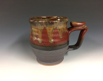 Red and gold rimmed mug, handmade pottery, beer stein, ready to ship