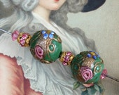 2 Vintage Venetian Wedding Cake Glass Beads
