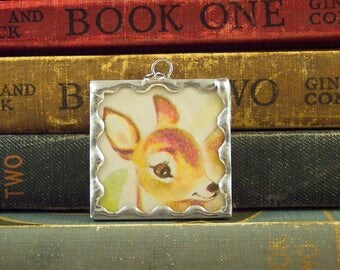 Oh Deer Pendant - Soldered Glass Charm - Doe Deer Charm - Vintage Book Ephemera Jewelry - Mixed Media Jewelry - Woodland Animal