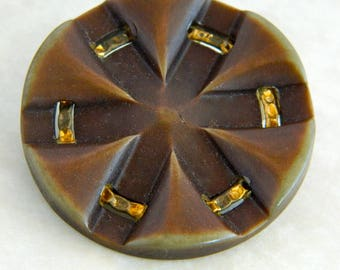 Large Vintage Brown Button with Gold Trim