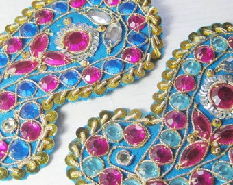 Applique Beaded Indian paisley traditional pair 10.5 cm long Blue
